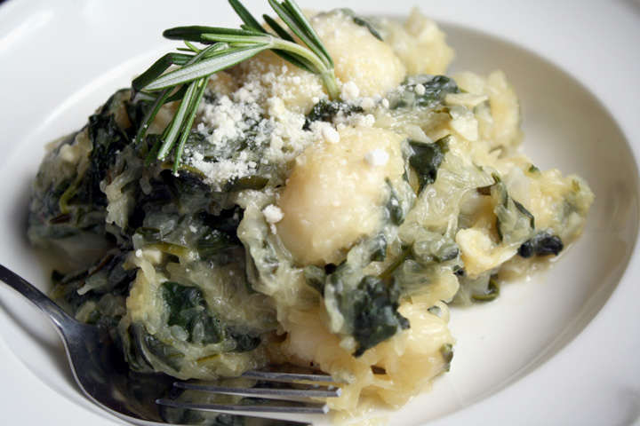 Gnocci with Spaghetti Squash, Spinach and Rosemary