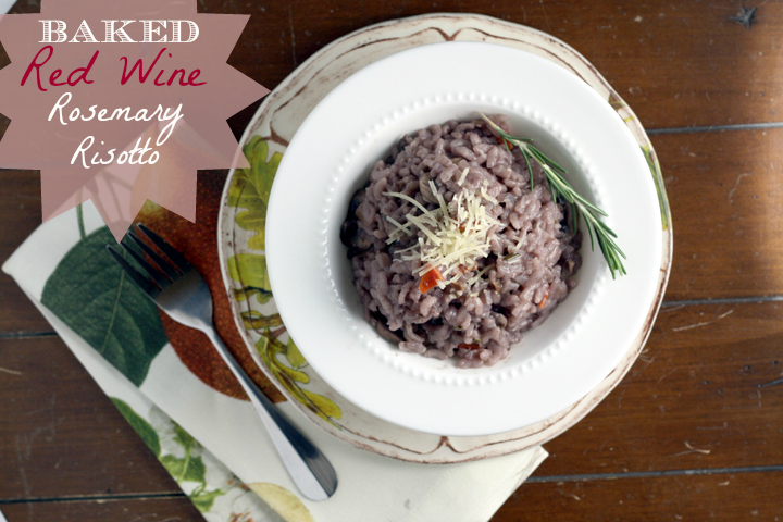 Baked Red Wine Rosemary Risotto ~  ElephantEats.com