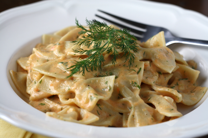 Light Carrot Dill Cream Sauce for Pasta ~ ElephantEats.com