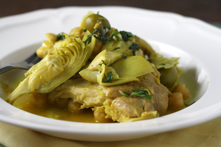 Braised Chicken with Artichokes and Olives ~ ElephantEats.com