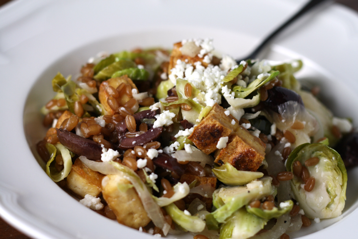 Warm Wheatberry, Brussels Sprout Salad with Feta and Crispy Tofu ~ ElephantEats.com