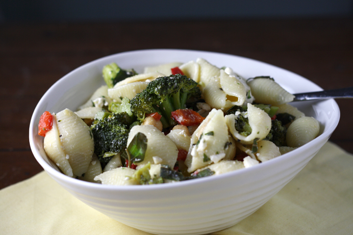 Pasta Salad with Feta, Broccoli, Capers, and Chickpeas ~ ElephantEats.com