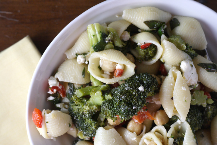 Pasta Salad with Broccoli, Feta, Capers,and Chickpeas 2 ~ ElephantEats.com
