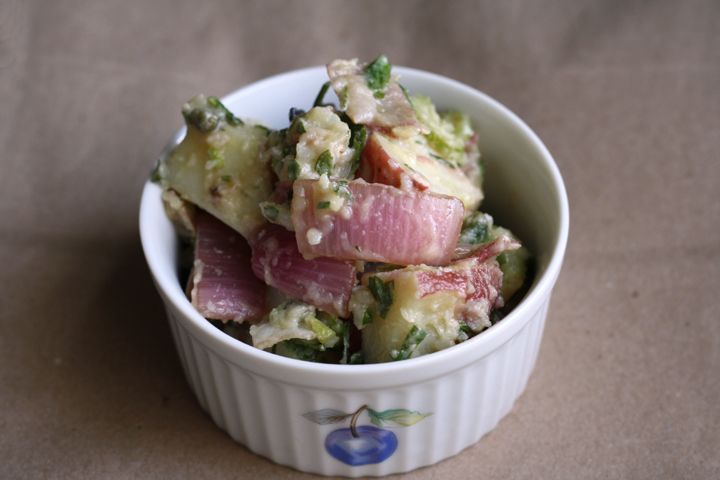 Mayo-Free Potato Salad with Vinegar ~ ElephantEats.com