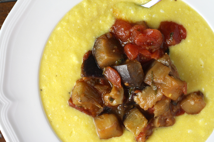 Fresh Corn Polenta with Eggplant Sauce ~ ElephantEats.com