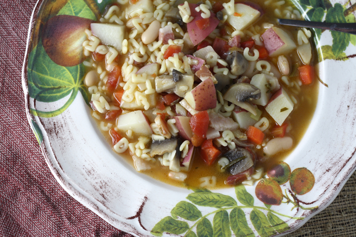 Pasta Soup with Potatoes, Pancetta and Mushrooms ~ ElephantEats.com