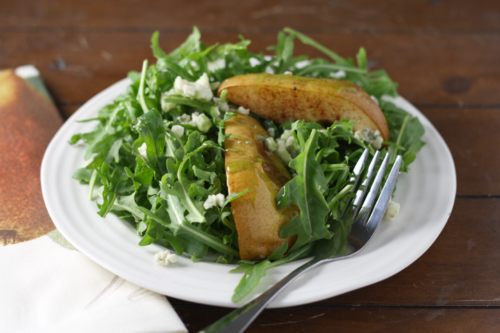 Cinnamon Roasted Pears over Arugula with Blue Cheese and Balsamic Glaze ~ www.ElephantEats.com