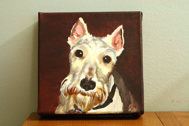 Custom Miniature Schnauzer Acrylic Pet Portrait ~ ElephantEats.com