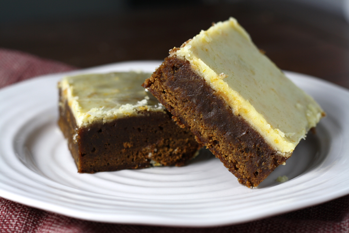 Orange Iced Gingerbread Bars ~ ElephantEats.com