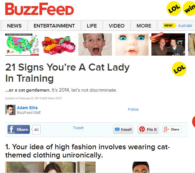 Buzzfeed 21 Signs You're A Cat Lady In Training ~ ElephantEats.com