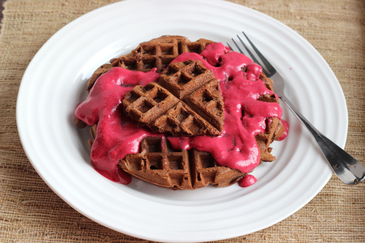 Chocolate Almond Waffles ~ ElephantEats.com
